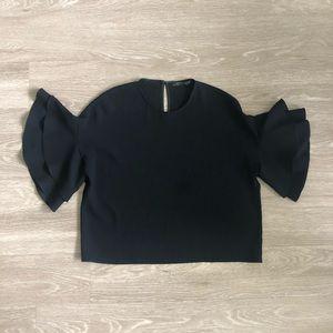 Zara Short Double Frill Sleeve Keyhole Top